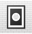 Realistic black frame A4 on the brick wall vector image vector image