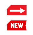 red labels with arrow and new title stickers set vector image vector image