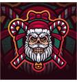 santa skull head esport mascot logo vector image vector image