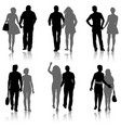 set couples man and woman silhouettes on a white vector image