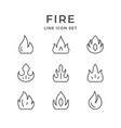 set line icons fire vector image vector image