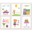 Set of birthday greeting cards design with cartoon vector image vector image