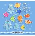 Set of fish and jellyfish For children vector image