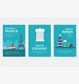 set of france country ornament travel tour concept vector image