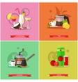 set of popular drinks flat design vector image