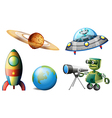Spaceships and robots vector image vector image