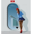 stewardess at door vector image vector image