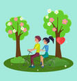 tandem bicycle riders cartoon characters girl and vector image vector image