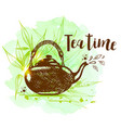 teapot on a green watercolor background vector image vector image