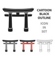 torii icon in cartoon style isolated on white vector image vector image