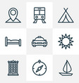 traveling icons line style set with cab compass vector image