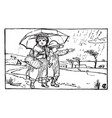 two children walking under an umbrella vintage vector image vector image