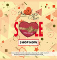 valentines day sale background with colored hearts vector image vector image