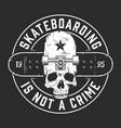 vintage skateboarding monochrome round emblem vector image vector image