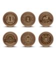 Wooden beer emblems mats icons set vector image