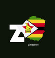 zimbabwe initial letter country with map and flag vector image