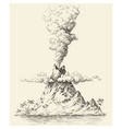 active volcano drawing volcanic eruption vector image