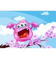 A pink beanie monster above the branch of a tree vector image vector image