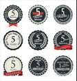 anniversary retro badge collection 5 years vector image vector image