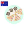 australian party sweet food lamington cake vector image vector image