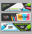 banners with colorful markers vector image vector image