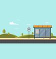 bus stop on main street city public park vector image vector image