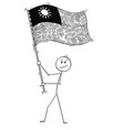 cartoon of man waving the flag of republic of vector image