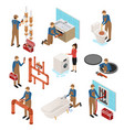 character plumber in uniform 3d icon set isometric vector image