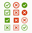 check mark icon green and red marks and crosses vector image