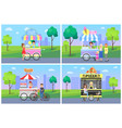 cheerful clients near street food shops in park vector image vector image