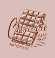 chocolate bar vintage badge or logo for t-shirts vector image vector image