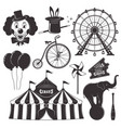 circus and amusement park black objects vector image