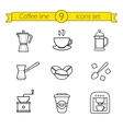 Coffee linear icons set vector image vector image