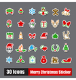 Collection of 30 sticker merry christmas icons set vector image vector image