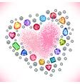 Colored gems heart shape frame vector image