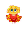 cute feminine owl with blond hair earrings vector image
