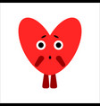 cute heart heart gets scared white vector image vector image