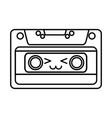 cute kawaii cartoon cassette vector image vector image