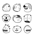 Doodle Outline Cartoon Emotional Faces with Teeth vector image vector image