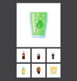 flat icon drink set of carbonated drink fizzy vector image vector image