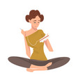 girl sitting on floor and embroidering on the vector image