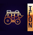 gold line western stagecoach icon isolated on vector image vector image