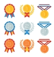 Gold silver bronze medal in flat icons set vector image vector image