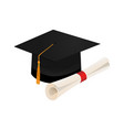 graduation cap and diploma scroll isolated on vector image