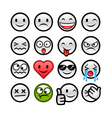 grey round smileys set vector image