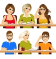 group of students studying together vector image
