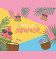 hello summer poster with coconut cocktails vector image vector image