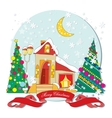 House with Christmas trees vector image