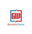 initial letter gw logo template design vector image vector image