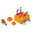 isometric delivery service collects order vector image